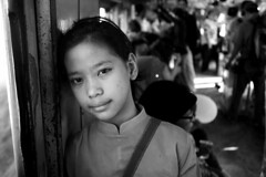 Sabrina, Street Performer (DMahendra) Tags: life street portrait bw white black train canon children eos photo blackwhite essay child photojournalism jakarta commuter streetperformer worker urchin performer journalism bogor underage commutertrain photoessay jabotabek krl streeturchin depok childworker