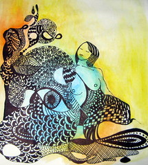 colour washed beauty (DSDesigns (Debra Sutton)) Tags: art drawing doodles doodling femalefigure zentangle