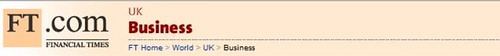 Financial Times breadcrumb link navigation