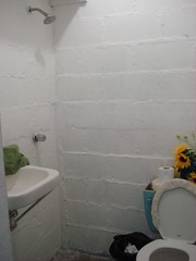 What our tiny bathroom looked like in our first apartment