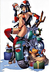 Vampirella sitting on motorcycle for Christmas