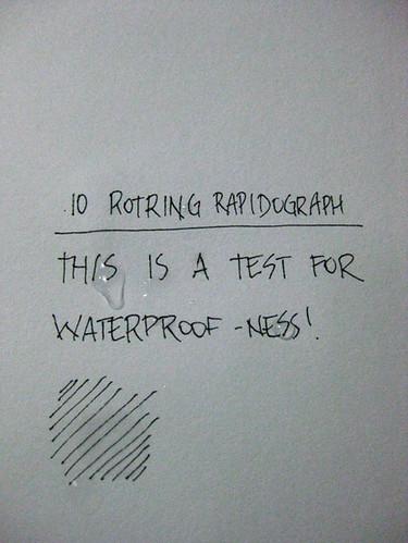 Rotring Rapidograph waterproof-ness