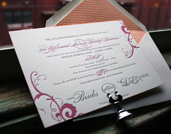 Custom Pink and orange letterpress invitation - corporate - Smock