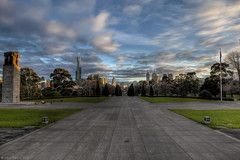 Melbourne  Victoria  Australia (WilliamBullimore) Tags: city sky clouds sunrise dawn cityscape steps australia melbourne victoria stkildaroad kingsdomain shrineofremembrance grouptripod