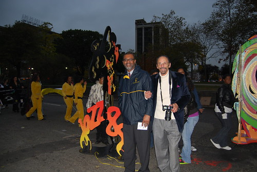 WBGO Pres & CEO Cephas Bowles with Gary Barat of the Barat Fdtn with the Jazz88 saxman sculpture