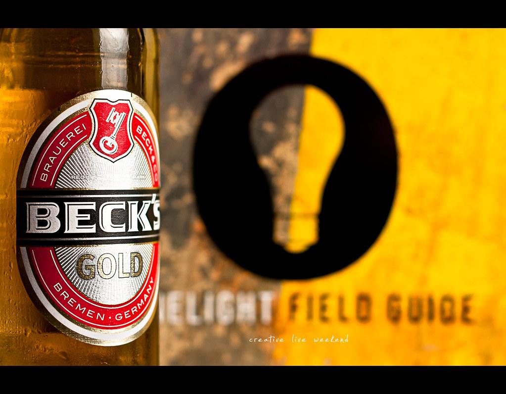 Project 365, Day 267, 267/365, strobist, bokeh, Sigma 50mm F1.4 EX DG HSM, 50mm, 50 mm, beer, becks gold, onelight