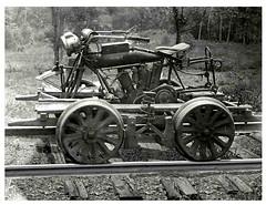Motorcycle Handcar (BOB WESTON) Tags: motorcycle indianmotorcycle marshalltexas handcar texaspacificrailway indianmotocycle