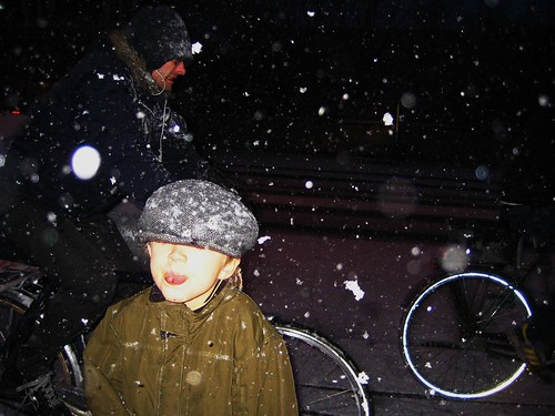 Boy With Winter Cyclists