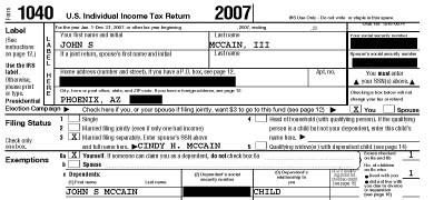 john mccain tax return