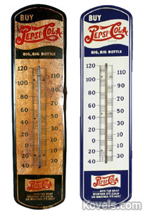 The rusty thermometer (left) sold for $70. The pristine example (right) sold for $500.