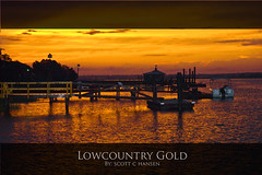 Lowcountry Gold (Sco C. Hansen) Tags: sunset sky orange sun beautiful river coast boat dock scene marsh beaufort lowcountry beaufortcounty beaufortsc buoyant aplusphoto beaufortphotographer