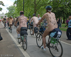They think it's Oil over... (erica_naturegirl) Tags: london naked cycling cyclists protest bikes bodypaint oil 2008 slogan cycles oilcrisis naturists nakedbikeride wnbr2008 img3906lores