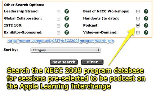 NECC 2008 program search for podcasted sessions