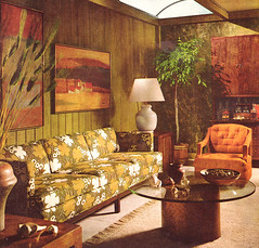 Vintage Living Room 1968 (obsequies) Tags: orange house green art lamp floral wall modern century vintage magazine painting design chair mod 60s livingroom couch decorating 1960s 1968 decor groovy mid midcentury panelling betterhomesandgardens almost70s