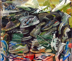 Nike Sneaker pileup (Don Hankins) Tags: rubber nike recycle runningshoes eugeneoregon pileup shoelace glassbox oldshoes nikesneakers