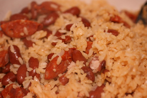 rice with beans and chorizo