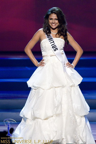 Olivia Carey, Miss Mauritius 2008, competes in a gown of her choice ...