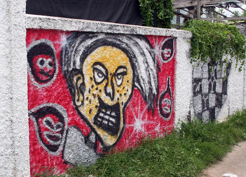 Street Art in Thailand - Yellow Face - Bang Saen, Thailand