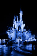 Disney - Cinderella Castle at night - Monotone blue (Explored)