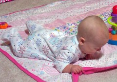 Playing on quilt