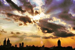And God said let there be light (DP Photography) Tags: sky sun newyork skyline centralpark manhattan metropolitanmuseumofart orangeglow debashispradhan dpphotography dp photography