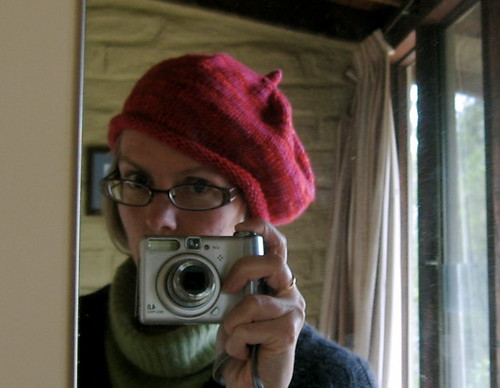 Woolly Wormhead Rollin' Beret in red Malabrigo