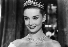 Audrey Hepburn in Roman Holiday (djabonillojr.2008) Tags: people tiara smiling portraits diamonds movie 1 necklace clothing glamour women audreyhepburn dress jewelry prominentpersons whites earrings females adults jewel stylish elegance europeans moviestill belgians facialexpression youngadults headandshouldersportraits hairornament romanholidaymotionpicture1953