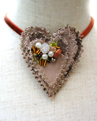 D'Urbervilles Pendant main view (fancypicnic) Tags: wedding bronze gold necklace engagement heart cream unusual pendant choker oldgold pearlescent textilejewellery