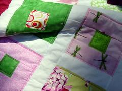 pink green quilt detail