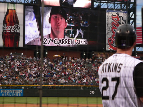 Suz took this one, and she was pretty pleased with how she captured Atkins both in the on deck circle and on the jumbotron.