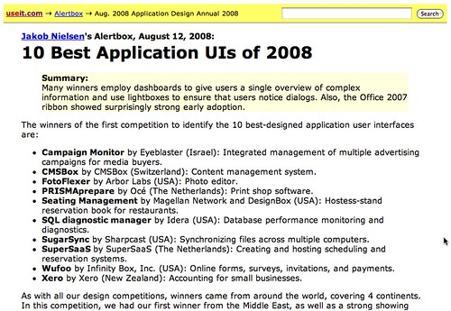 Jakob Nielsen Ranks Wufoo Among 10 Best UIs of 2008