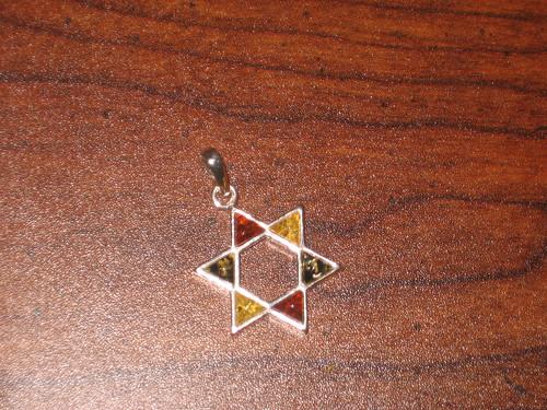 amber star of david pendant