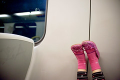 we went to the city today. (sesame ellis) Tags: pink feet girl train nikon child mykid australia melbourne ppg littlekid d3 ppm year4 racheldevine wwwracheldevinecom sparkleshoes sedps