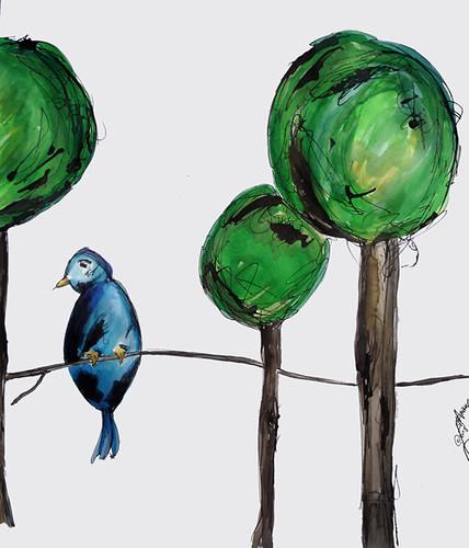 Lone Bird & His Trees