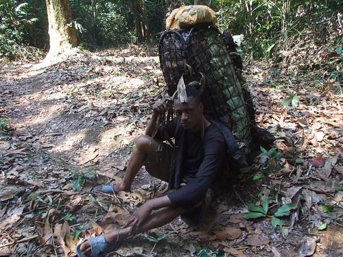One bushmeat transporter takes a break