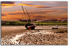 Waiting For The Tide in Explore (DDA / Deljen Digital Art) Tags: uk sunset england sky nature water river boats sand view scenic estuary northumberland alnmouth fields pleasure riveraln