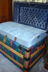 Trunk Tale Part 2 the make over (raining rita) Tags: leather colorado dolls sweden lock buttons trunk tray steamer lid recovered hankies tufting pre1900s lenaandoscarolsen turningnails