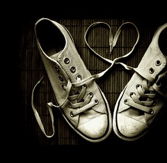 They loved Chuck (JenniPenni) Tags: bw love sepia shoes heart dirty trainers converse 365 popculture iconic allstar laces chucktaylor lowtops