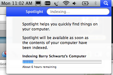 Apple Spotlight Indexing