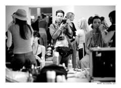 me geared up for fashion week (Chris Weeks) Tags: leica models makeup mp noctilux backstage behindthescenes summilux m6 culvercity fashionweek smashbox canoneos1dmark2