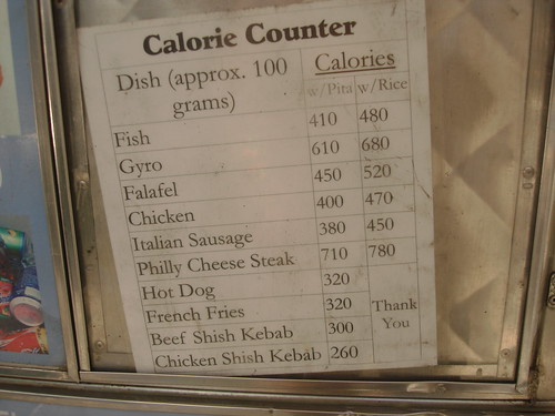 For Some Unknown Reason A Halal Cart Posts Calorie Info Midtown