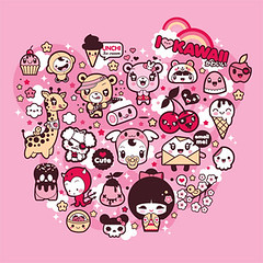 "I Love Kawaii: Shirt design for ""La Fraise"" contest (charuca) Tags: bear pink cute toy design strawberry sweet character sugar kawaii devil kokeshi lafraise charuca"