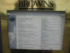 Browns Pre and Post Theatre Menus