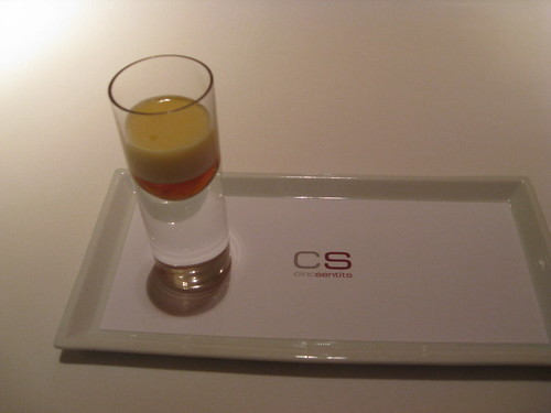 Cinc Sentits - Barcelona: Amuse: Shot: Cava, Cream, and Maple Syrup