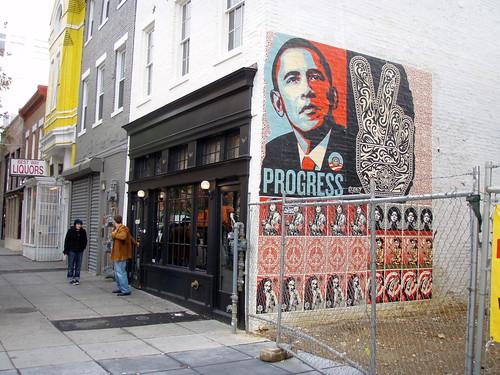 Shephard Fairey Obama poster by Daquella Manera on flickr