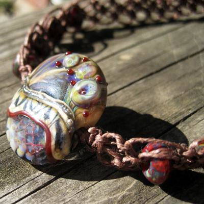 Organic Lampwork Hemp Necklace