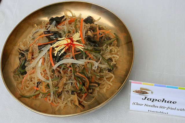 Japchae - clear noodles stir-fried with vegetables