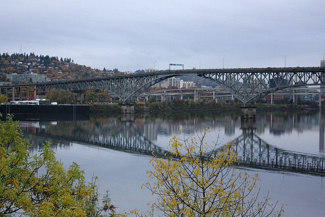 Ross Island Bridge from Springwater Trail