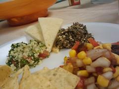 Salsa, Tabouleh, Olive Tampenade