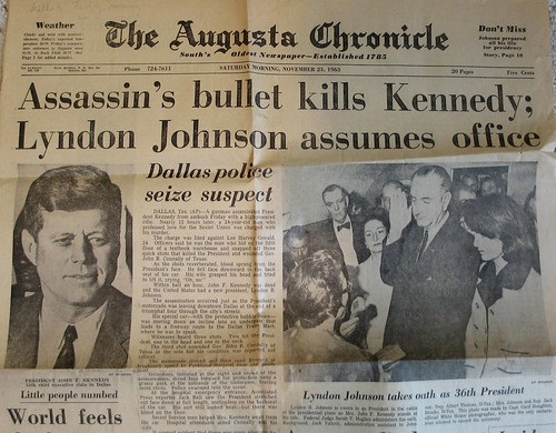 Assassin's Bullet Kills Kennedy, shot of vintage copy of The Augusta Chronicle, November 23rd, 1963, Augusta, Georgia, photo © 2008 by QuoinMonkey. All rights reserved.